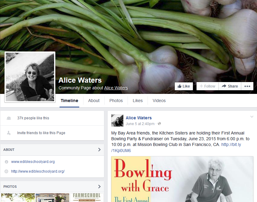 Alice Waters Facebook Page
