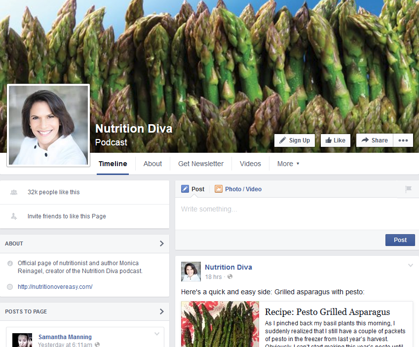 The Nutrition Diva Facebook Page